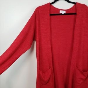 LuLaRoe Sweaters - LuLaRoe Sarah Knit Solid Red Long Duster Cardigan